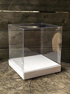 Caixa para Panetone 500g / Mini Bolo - 16x16x18cm -Tampa Acetato - Branca (10un)