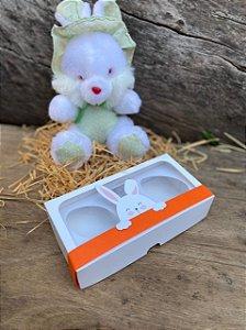 Caixa Páscoa Mini Confeiteiro 2 Ovos de 50g  com Faixa Coelhinho  - 10 unid.