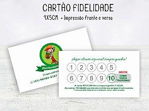 Cartão Fidelidade 9x5cm  Frente e verso - 100 unid.
