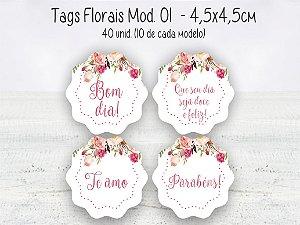 Tag Floral Mod.01 - 4,5x4,5cm - 40 unid