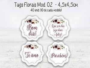 Tag Floral Mod.02 - 4,5x4,5cm - 40 unid