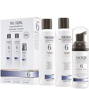 NIOXIN 6 System - Kit de tratamento (Cleanser 300ml + Scalp Therapy 150ml + Scalp Treatment 100ml - 3pcs) Cabelo com enfraquecimento perceptível (Cabelo normal a espesso)