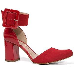 Sapato Tanara T0123 Casual Salto Médio Feminino Vermelho Nobuck