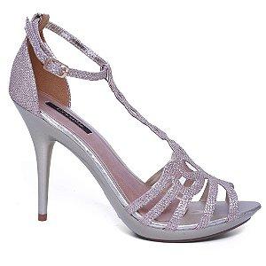 Sandália Feminina Crysalis 4055-4923 Social Abs Glitter Champagne