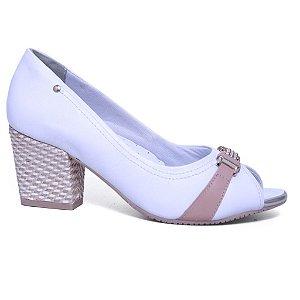 Peep Toe Comfortflex 16-75304 Branco Pele