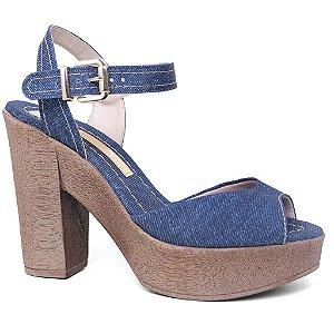 Sandália Feminina Moleca 5402103 Meia Pata Tecido Azul Jeans