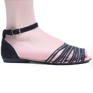 Sandália Dakota Z1491 Rasteira Feminina Preto Gliter