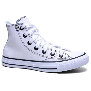 Tênis Converse All Star Unissex CT329 European HI Seasonal Cano Alto Casual Couro Branco