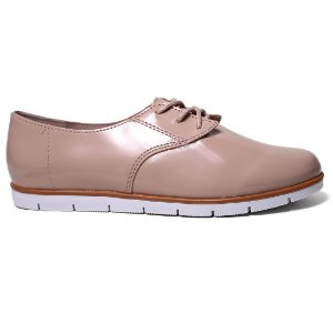 Sapato Oxford Moleca 5613.100 Feminino Bege Verniz