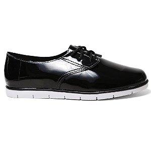 Sapato Oxford Moleca 5613.100 Feminino Preto Verniz