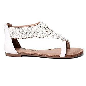 Sandália Dakota Z0993 Rasteira Feminina Croche Branco Ouro