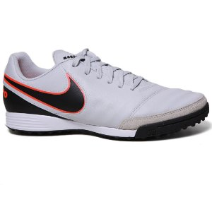 Chuteira Nike Tiempo Genio II Leather TF 819216 Society Perola Preto Laranja