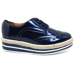 Sapato Feminino Oxford Vizzano 1241.101Azul/Branco Tratorado Corda