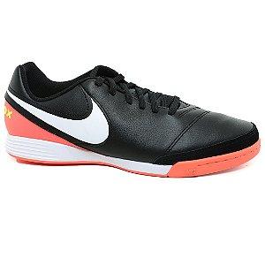 Chuteira Nike 819215 Tiempox Genio II Leather Indor Preto Orange