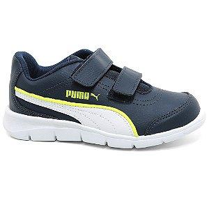 Tênis Puma Stepfleex Run SL V PS BDP 189668 Infantil Casual Velcro Marinho Limão Branco