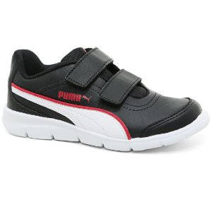 Tênis Puma Stepfleex Run SL V PS BDP 189668 Infantil Casual Velcro Black White Red