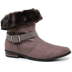 Bota Ramarim 17-60103 Ankle Boot Feminina Taupy Camurça