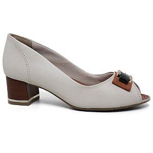 Peep Toe Comfortflex 16-92404 Casual Salto Baixo Feminino Off White