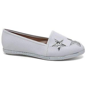 Sapatilha Moleca 5249.720 Alpargatas Feminina Estrela Glitter Branco Prata