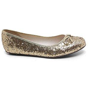 Sapatilha Molekinha 2052.336 Menina Dourado Glitter