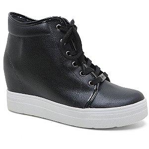 Bota Quiz 47-61904 Sneaker Plataforma Feminina Preto Napa