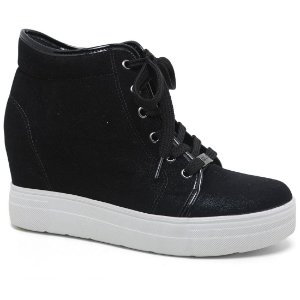 Bota Quiz 47-61904 Sneaker Plataforma Feminina Camurça Preto Verniz