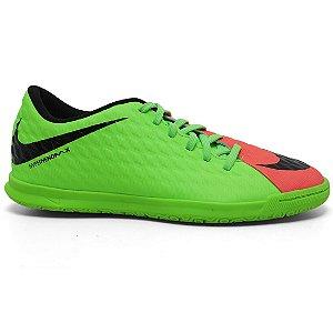 Chuteira Nike HypervenomX Phade III 852543 Indoor Masculina Verde Limão Orange