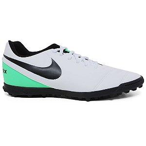 Chuteira Nike 819237 Tiempo Rio 3 TF Society Masculina White Black Green