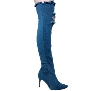 Bota Leide-Lu 276.2974 Over Knee Cano Alto Feminina Azul Jeans Claro