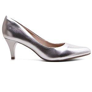 Sapato Scarpin Bebecê 6810-061 Feminino Pelica Metalico Salto Médio