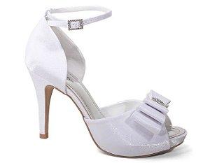 Sandália Mania Fashion 700/272 Feminina Cetim Cristal Liso Branco
