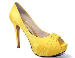 Peep Toe Território da Moda MV 3412  Feminino Cetim Cristal Amarelo