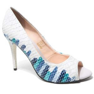 Peep Toe Bottero 242425 Feminino Multi Azul Crocodilo