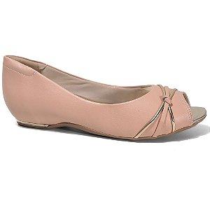 Sapatilha Comfortflex 16-76301 Peep Toe Feminina Pele Ouro