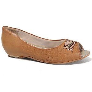 Sapatilha Comfortflex 16-76304 Peep Toe Feminina Caramelo Ouro