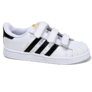 Tênis Adidas Superstar Foundation CF I B23637 Infantil Tam 19 ao 25 White Black