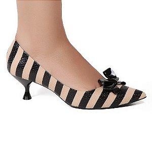 Sapato Cecconello 941004 Scarpin Preto Nude Listrado