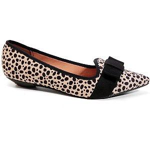 Sapatilha Vizzano 1131.579 Feminina Tecido Leopardo Bege Preto