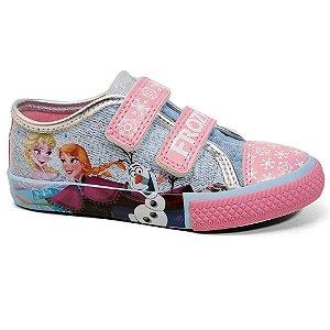 Tênis Frozen DD0236 Velcro Infantil Azul Jeans Rosa Tam 23 ao 31