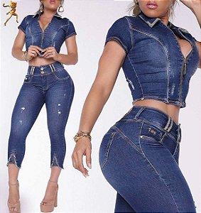 Cropped Jeans Com Zíper 56513