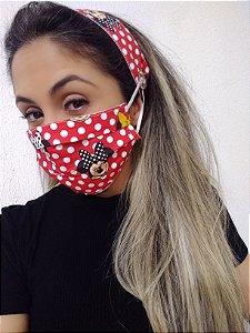 Máscara e Tiara Minnie 100% Algodão C/Elástico Regulável