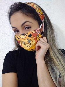 Máscara e Tiara Rei Leão 100% Algodão C/Elástico Regulável