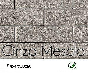 Revestimento de parede Ecobrick Santa Luzia Cinza Mescla grande - 7,5cmx27cmx9mm