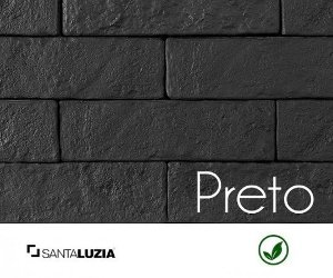 Revestimento de parede Ecobrick Santa Luzia Preto grande - 7,5cmx27cmx9mm