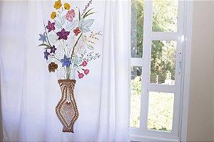 Cortina Vaso das Artesãs com crochê