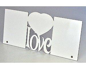 Porta-retrato de MDF Texturizado Brilho LOVE - 2 Fotos