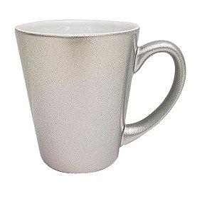 Caneca Cônica para Sublimação de Cerâmica Metalizada Prata 350ml - 12 Unidade