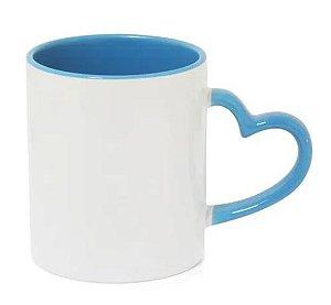 Caneca Love Branca para Sublimação com Alça e Interior Azul Claro - 12 Unidade