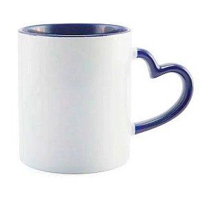 Caneca Love Branca para Sublimação com Alça e interior Azul Escuro - 36 Unidades