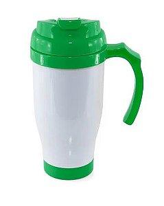 Copo Térmico de Plástico para Sublimação com Tampa Bico, Alça e Fundo Verde - 475ml